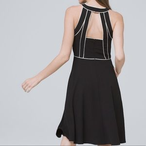 Piped Fit-and-Flare Black Dress